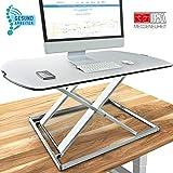 Deskfit 3in1 höhenverstellbarer Schreibtisch-Aufsatz 80cm, stufenlose Pneumatik Gasfeder,...