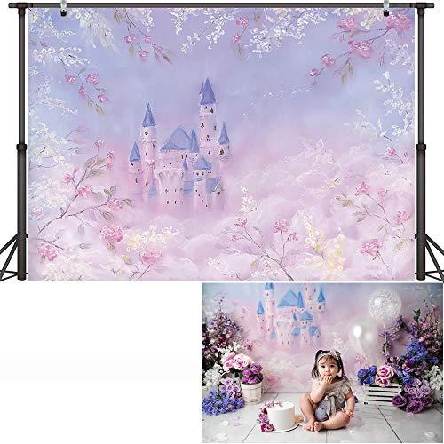 Castillo cumpleaños Arte fotografía telón de Fondo Princesa Baby Shower Retrato Fondo niños Cuento de Hadas cumpleaños Fiesta Accesorios A16 9x6ft / 2,7x1,8 m
