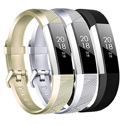 Baaletc Replacement Bands Compatible Fitbit Alta HR/Alta/Ace, Classic Accessories Band Sport Strap for Fitbit Alta HR, Small Champagne Gold/Silver/Black 3pcs