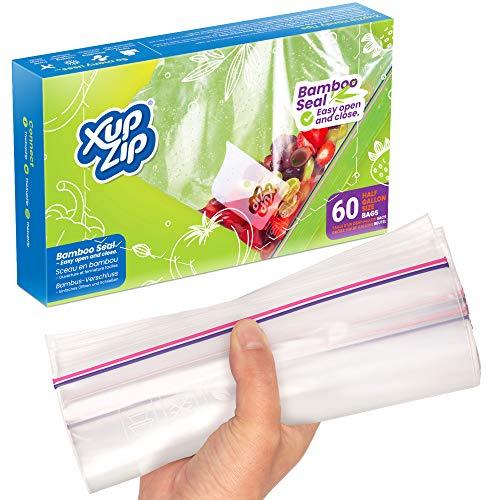 60 x Premium-Gefrierbeutel zur Aufbewahrung von Lebensmitteln von XupZip™ | 2,27 L, wiederverwendbar, Hochleistungskunststoff | Luftdichter & auslaufsicherer Bambusverschluss | BPA-frei