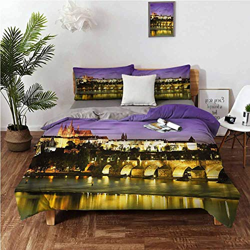 Travel Bedding 3 Piece Duvet Cover Set Queen Size with Four Corner Straps,Comforter Set Bed Easy Care(3 Piece Includes 1 Quilt and 2 Shams) Charles Bridge Prague
