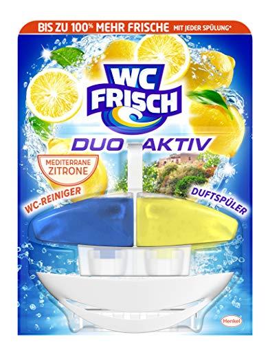 WC FRISCH Duo-Aktiv Mediterrane Zitrone, 1 Stück, WC-Reiniger und Duftspüler, merhr Frische für die Toilette