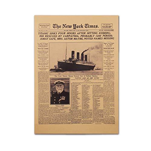 Vintage Zeitungspapier Poster 50,8 x 35,6 cm ungerahmt Titanic Sinking New York Times Zeitung Poster Vorderseite April 16 1912 Kraftpapier Retro Poster Western Art Prints Raumdekoration
