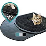 DzelCat SpreadZtrap Cat Litter Mat - Disinfectable ABS Plastic Litter Catcher Tray for Cats & Dogs - Waterproof 16'X19' Large Trapping Box Mat & Food Mat - Easy to Clean, Urine-Proof, Scatter Control