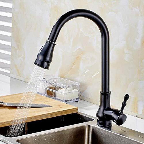Grifos de cocina Grifos de baño Pintura negra Grifo de cocina abatible con resorte con caños individuales y ducha de mano Grifo monomando de cocina