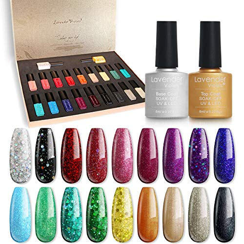 Lavender Violets Gel Nail Polish Kit - 20 of Soak-off UV Gel Nail Polish Base Top Gel 988