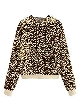 SweatyRocks Women s Causal Sweatshirt Leopard Long Sleeve Drawstring Hoodies Lightweight Pullover Tops Multi M