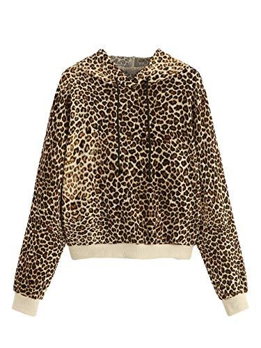 SweatyRocks Women's Causal Sweatshirt Leopard Long Sleeve Drawstring Hoodies Lightweight Pullover Tops Multi M