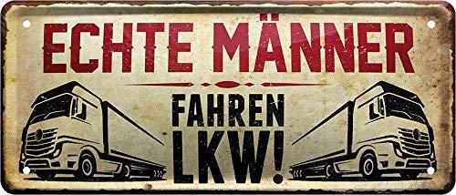 """Blechschilder Lustiger Spruch """"Echte Männer Fahren LKW"""" Güterfernverkehr Kraftfahrzeug Fahrer Deko Schild Metallschild Garage Werkstatt Hobbyraum Humor Geschenkidee 28x12 cm"""