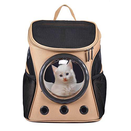 HAPPY HACHI Innovative Traveler Bubble Haustier Rucksack Transportboxen Airline Travel zugelassen Carrier umschaltbar Mesh Panel für Katzen und Hunde (Khaki)