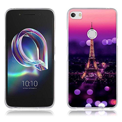 FUBAODA Hülle für Alcatel Idol 5, Schöne Nacht des Eiffelturms,Dünn Soft Schutzhülle-Schutz vor Fingerabdruck,Staub & Scratch-Stoßfest TPU Handyhülle für Alcatel Idol 5(5.2