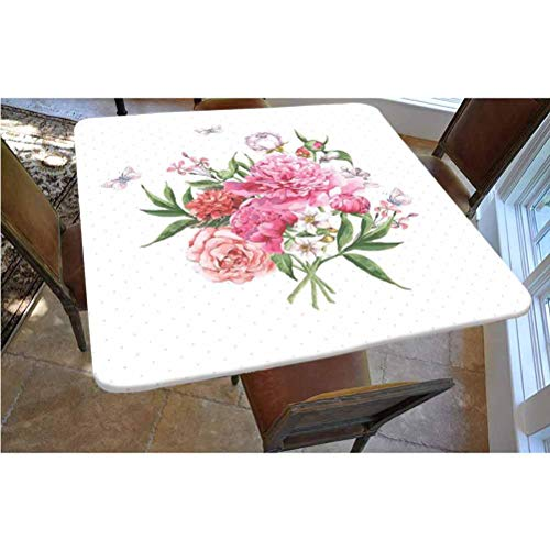 Kitchen Decor Polyester Fitted Tablecloth,Floral Watercolor Style Card Design Bloom Wildflowers Butterflies Bouquet Polkadot Square Elastic Edge Fitted Table Cover,Fits Square Tables 36x36 White Pink