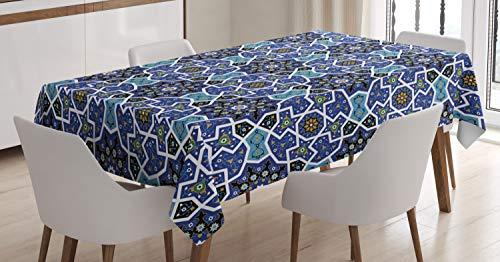 ABAKUHAUS Arabisch Tischdecke, Persisches Gypsy Design, Für den Inn und Outdoor Bereich geeignet Waschbar Druck Klar Kein Verblassen, 140 x 170 cm, Königsblau