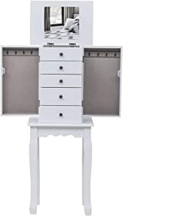 Kcelarec Standing Jewelry Chest Armoire Cabinet Storage Organizer,Makeup Display Box Stand Up Accent Furniture Bedroom Armoires (White+Grey)