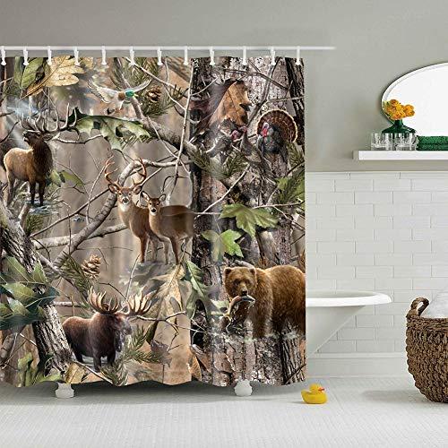 Boyouth Duschvorhang im Boho-Stil, Digitaldruck, für Badezimmer, wasserdicht, Polyester, mit Haken Modern 70