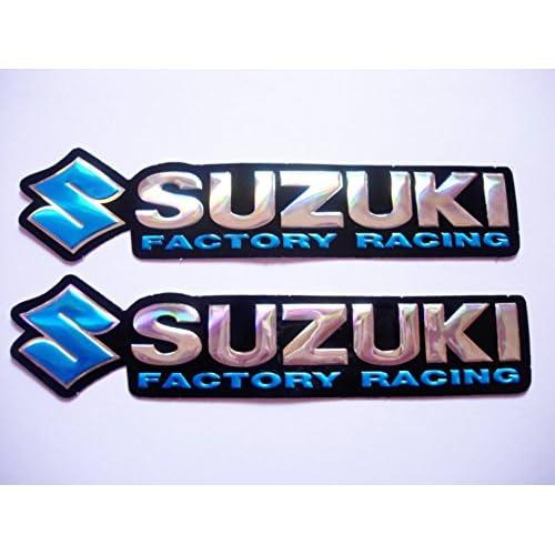 chrome SUZUKI stickers decals Aufkleber #2 set of 2 pieces 3D gold