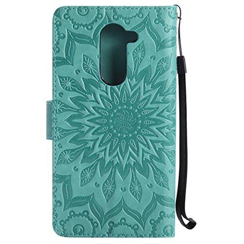 Robinsoni Coque Huawei Honor 6X Etui Housse en Cuir,Motif Tournesol Coque 3D Livre Stylé Folio Flip PU Cuir Pochette Portefeuille Magnétique Housse Coque Etui pour Huawei Honor 6X,Vert