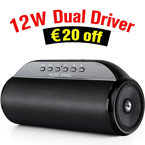 Musicangel® Portable Bluetooth Speakers 12W Dual Driver Rich Bass Built-in Microphone for Calls Enhanced Stereo Sound IPX4 Waterproof TF Card Function for iPhone Ipad Smartphones Tablets and More