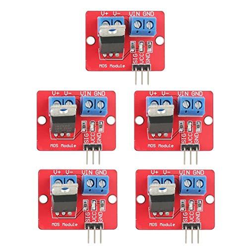 5Pcs IRF520 MOSFET Driver Module 3.3V/5V PWM Output Driving Module Módulo 0-24V PWM Driving Control Switch Board para MCU ARM Arduino Raspberry Pi Arduino MCU