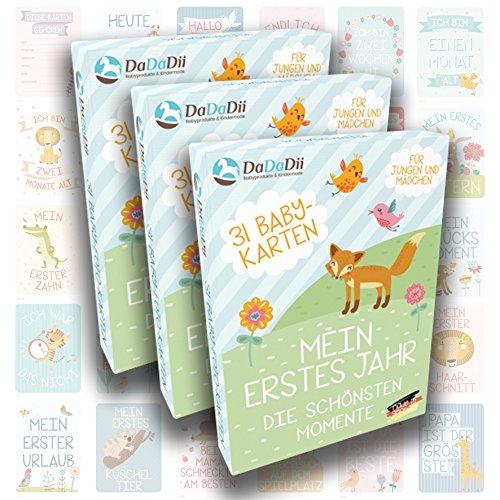 Baby Meilenstein-Karten für das 1. Lebensjahr – 3er Set von DaDaDii – Tolles Geschenk für Drillinge - Der Hit auf jeder Babyparty oder für die Baby Erstausstattung - Milestone Cards DEUTSCH