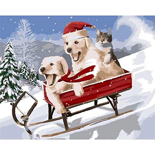 Amrzxz DIY- Perro de esquí de Navidad Kit de Pintura Digital de Lienzo para Pintar al óleo para Adultos y niños por número de decoración para el hogar 40x50cm(sin Marco)