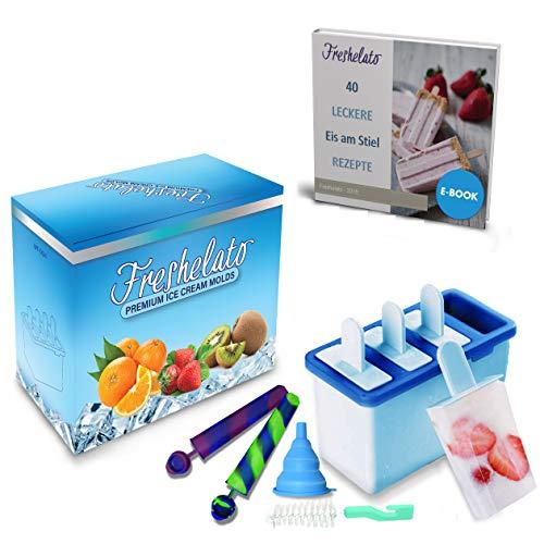 Freshelato - Molde para Polos de Hielo/Helados Caseros Combo + 2 x Moldes para Hielos de Silicona + Embudo + Cepillo (Azul)