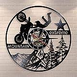 Reloj de Pared de Bicicleta de montaña de Motocross, Motocicletas extremas, Reloj de Pared con Registro de Vinilo, Arte de Pared Decorativo Vintage Dirt Biking