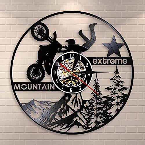 Motocross Mountain Bike Wall Clock Extreme Motorcycles Motorbike Vinyl Record Wall Clock Vintage Dirt Biking Decorative Wall Art