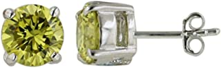 925 Solid Sterling Silver Tiny Cubic Zirconia Stud Earrings 4,5,6,7,8,9,10,12mm, Men and Women Jewelry