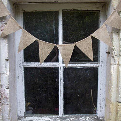 Lot de 10 Guirlandes de fanions en lin beige de 2,5 mètres. Décoration mariage, anniversaire, fête.