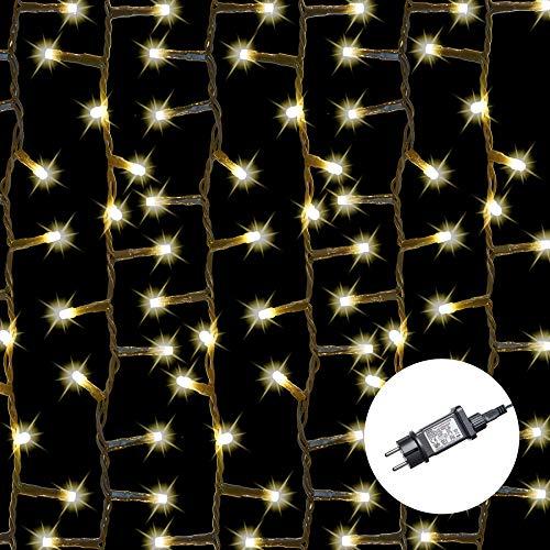 AMARE Baumlichterkette 400 LED warmweiß 5 Stränge mit Gesamtlänge 7,5m (zzgl. 3,25 m Zuleitung), CE + GS geprüft, für den Innen- und Außenbereich, 8 Leuchtmodi/Timer