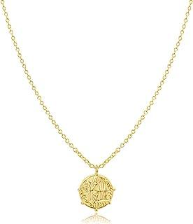 Hapuxt 18K Gold Plated Birth Flower Pendant Necklace for Women Month Gold Floral Paperclip Necklace (Jan-Dec)