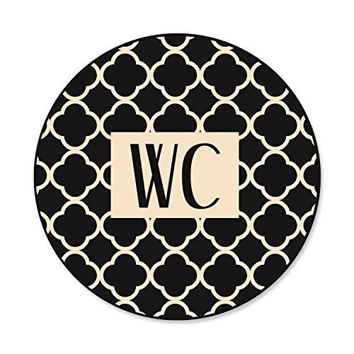 1 Stück WC-Schild Toiletten-Schild Klo-Schild in modernem beige schwarz Vintage Muster Look - neutral - für Frauen und Männer; rund 15 cm Durchmesser inkl. Klebepunkte, Aluminiumverbundplatte …