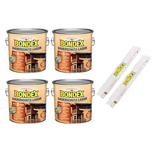 Bondex BigPack XL 4x Dauerschutz-Lasur Nussbaum 4,00l 329922 + 1 x Bondex Zollstock