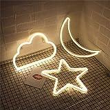 Letreros de noche de neón con diseño de estrellas de luna y nubes, decoración de pared para recámara, cumpleaños, fiesta de Halloween, alimentado por baterías/USB (amarillo)
