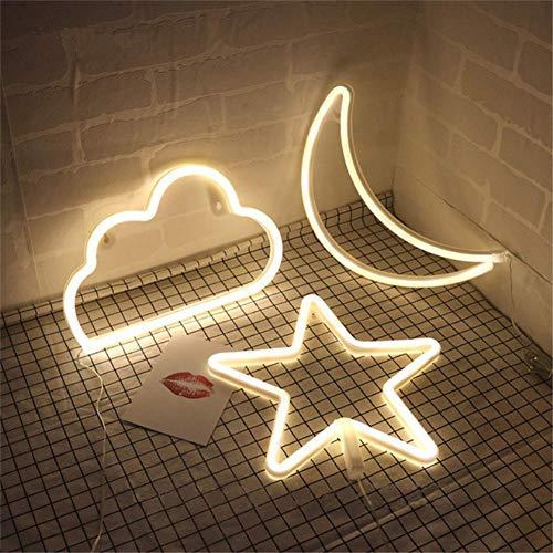 Star Moon and Cloud Neon Night S...
