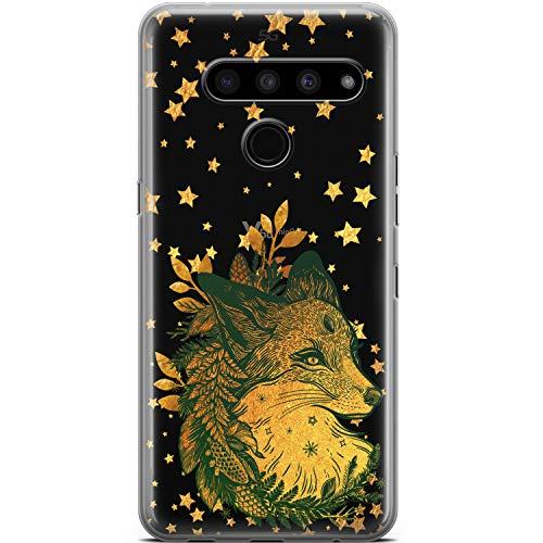 Mertak Clear Phone Case Compatible with LG Stylo 6 5 4 K61 K51S K41S K30 K20 Q70 Q60 Christmas Silicone Lightweight Design Flexible Boho Gold Stars Protective TPU Slim Fox Animal Cover Fern