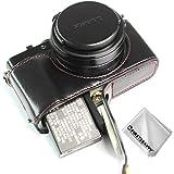 Negro Funda cámara Cuero de la PU cámara Digital Bolsa Caso Cubierta con Correa para Panasonic Lumix DC-LX100 II XJD-LX100 II-D01G11