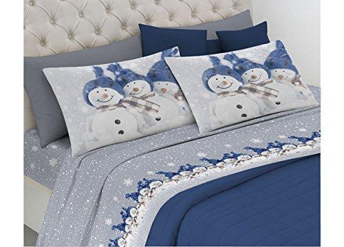 BIANCHERIAWEB Completo Lenzuola in Morbida Flanella Disegno Snowman 2 Piazze matr.Le Blu