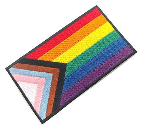 Progress Pride Flag LGBTQ POC Transgender Flag - 4 inch Iron-on Patch