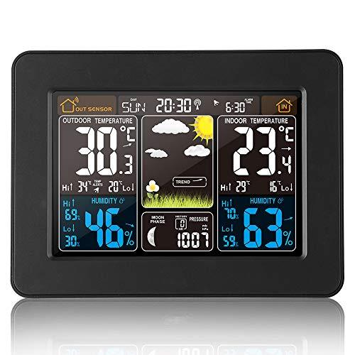 VORRINC Wetterstation mit Farbdisplay, Wetterstation Funk mit Außensensor, DCF Empfangssignal Funkuhr, Digital Thermometer Hygrometer Innen und Außen Raumthermometer Hydrometer Feuchtigkeit