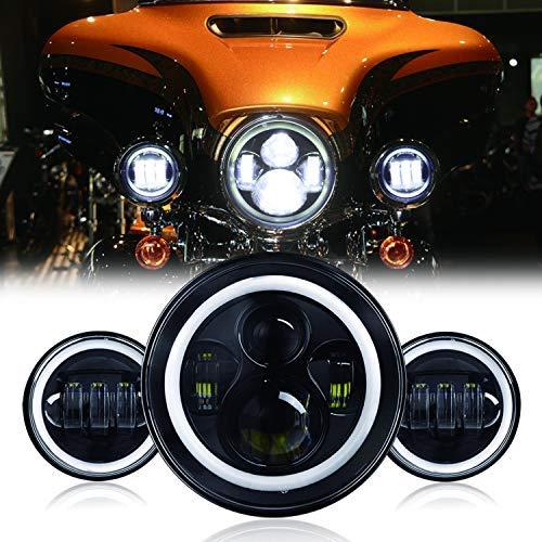 small 7 inch LED motorcycle headlight for Harley Davidson 4.5 inch LED fog lamp 2 sets Halo LED…