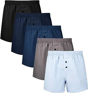 Mens Boxer Underwear Cotton Classic Woven Boxer Shorts for Men Pack