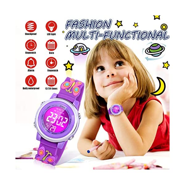 Viposoon Kids Watches, 3D Cartoon Waterproof Watch with 7 Color Lights Alarm Stopwatch Suitable for 3-10 Year Boys Girls – Best Gift