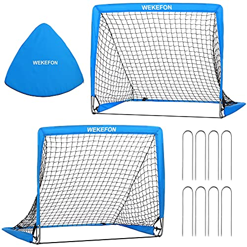 WEKEFON Kids Mini Soccer Goals, Set of 2 - Size 2.9'x2.4' Pop-Up Soccer Nets with Carry Bag Portable Folding Soccer Goal for Backyard Indoor Outdoor Games for Kids Age 1-6 Years Old