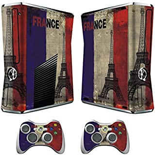 Skin for Xbox 360 Slim Sticker Decals for X360 Custom Cover Skins for Xbox360 Slim Modded Console Game Accessories Set Decal Stickers with 2 Wireless Remote Controllers - French Flag