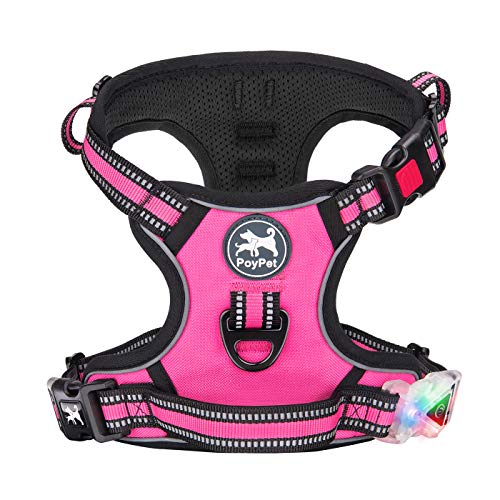 PoyPet LED Flashing Light No Pull Dog Harness Front Reflective Pet Vest for Dogs with Easy Control Handle 3 Buckles Perfect for Daily Training,Walking Running (Pink,L)