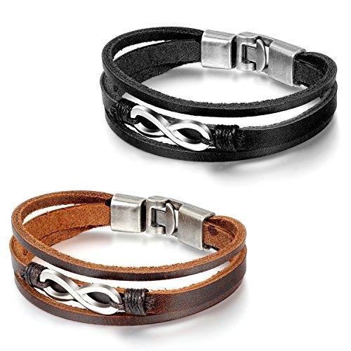 Flongo BFF Lederarmband Partnerarmbänder Freundschaftsarmbänder, 2 Stück Leder Armband Armreif Kordelkette Schwarz Braun Silber Infinity Unendlichkeit Ewigkeit Lieben Zeichen Symbol 8