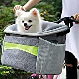 J&C Dog Bicycle Carrier Basket Bag for Small Dog or Cat,Pet Carrier Cage Booster Seats,Comfy & Padded Shoulder Strap,Travel with Your Pet Safety
