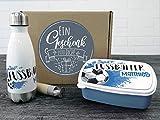GRAZDesign Personalisierte Trinkflasche und Brotdose als Geschenkbox, für Jungen mit Namen Motiv Fußballer